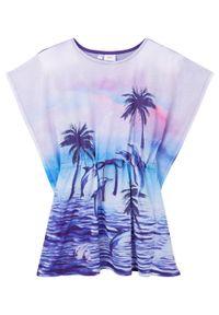 Sukienka dziewczęca tunikowa bonprix lila. Okazja: na plażę. Kolor: fioletowy. Wzór: nadruk. Sezon: lato