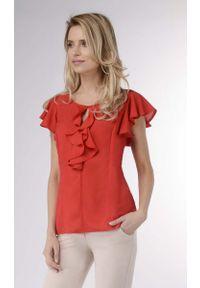 Czerwona bluzka Nommo na lato, z falbankami