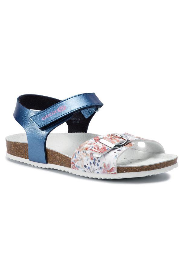 Niebieskie sandały Geox na lato, z aplikacjami, casualowe