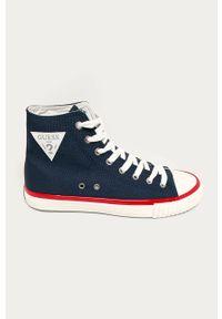 Niebieskie wysokie trampki Guess Jeans z cholewką, na sznurówki
