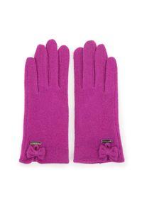 Fioletowe rękawiczki Wittchen eleganckie, z haftami, na zimę