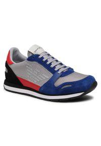 Emporio Armani - Sneakersy EMPORIO ARMANI - X4X537 XM678 N641 Bluet/Grey/Red/Blk. Okazja: na co dzień. Kolor: szary, niebieski, wielokolorowy. Materiał: skóra, materiał, zamsz. Szerokość cholewki: normalna. Wzór: aplikacja. Styl: elegancki, klasyczny, casual