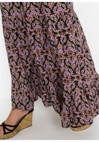 Spódnica maxi z połyskiem bonprix czarny z nadrukiem. Kolor: czarny. Długość: długie. Wzór: nadruk