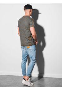 Ombre Clothing - T-shirt męski bawełniany S1372 - grafitowy - XXL. Kolor: szary. Materiał: bawełna. Sezon: lato