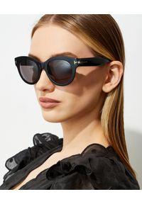 Tom Ford - TOM FORD - Czarne okulary przeciwsłoneczne Lou. Kształt: okrągłe. Kolor: czarny. Materiał: materiał