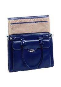 Torba na laptopa MCKLEIN Winnetka 15.6 cali Granatowy. Kolor: niebieski. Materiał: skóra. Styl: elegancki