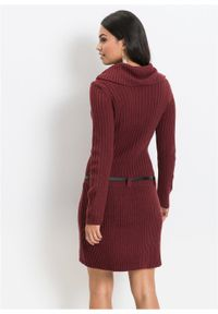 Czerwona sukienka bonprix na zimę, z kołnierzem typu carmen