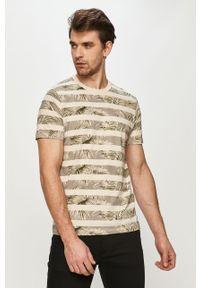 Kremowy t-shirt PRODUKT by Jack & Jones na co dzień, casualowy, z nadrukiem