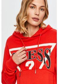 Czerwona bluza Guess Jeans długa, z długim rękawem, z nadrukiem