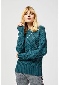 Zielony sweter MOODO z długim rękawem, klasyczny, z okrągłym kołnierzem, długi