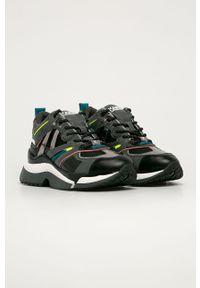 Szare buty sportowe Karl Lagerfeld na sznurówki, z cholewką, z okrągłym noskiem