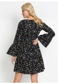 Czarna sukienka bonprix rozkloszowana, w kwiaty