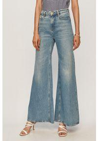 Niebieskie jeansy bootcut Scotch & Soda z podwyższonym stanem, w kolorowe wzory
