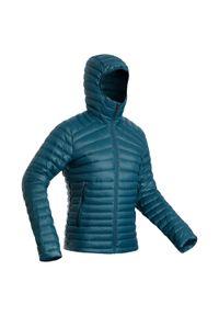 FORCLAZ - Kurtka trekkingowa męska puchowa komfort -5°C Forclaz Trek 100. Kolor: turkusowy, niebieski, wielokolorowy. Materiał: puch