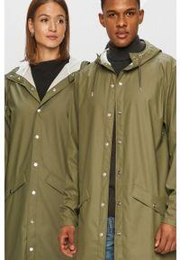 Rains - Kurtka przeciwdeszczowa 1202 Long Jacket. Okazja: na co dzień. Kolor: zielony. Styl: casual