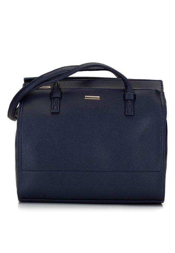 Wittchen - Kuferek z dużą kieszenią. Kolor: niebieski. Materiał: skórzane. Styl: klasyczny, casual, elegancki, biznesowy. Rodzaj torebki: na ramię