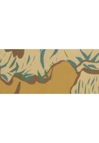 TOP SECRET - Bluzka damska oversize z łączonych materiałów. Okazja: do pracy, na co dzień. Kolor: żółty. Materiał: materiał. Długość rękawa: krótki rękaw. Długość: długie. Wzór: nadruk, gładki, kolorowy. Sezon: jesień, zima. Styl: casual