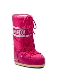 Różowe śniegowce Moon Boot na zimę, na sznurówki, z cholewką