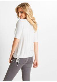 Sweter rozpinany bonprix biały. Kolor: biały. Długość rękawa: krótki rękaw. Długość: krótkie