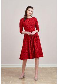 Marie Zélie - Sukienka Anastazja Paridae wiśniowa. Kolor: czerwony. Materiał: bawełna, dzianina, materiał, elastan, skóra. Typ sukienki: rozkloszowane. Styl: klasyczny