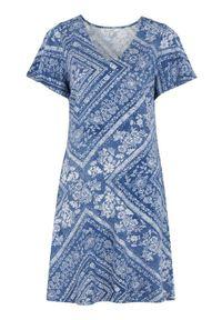 Niebieska sukienka Cellbes rozkloszowana, elegancka, z dekoltem w serek