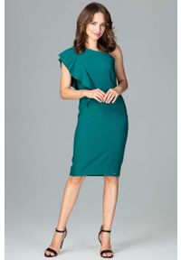 Zielona sukienka z falbanami Katrus wizytowa
