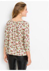 Zielona bluzka bonprix długa, z długim rękawem, w kwiaty