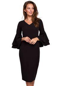 Makover - Elegancka sukienka midi z ozdobnymi rękawami. Typ sukienki: ołówkowe. Styl: elegancki. Długość: midi
