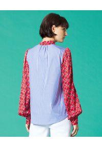 Manila Grace - MANILA GRACE - Niebieska koszula w paski. Kolor: czerwony. Materiał: bawełna, materiał. Wzór: paski