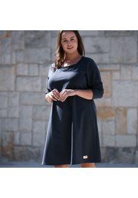 Szara sukienka dla puszystych Moda Size Plus Iwanek na co dzień, na jesień