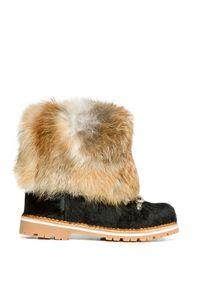 Czarne buty zimowe Montelliana z cholewką