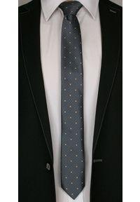Szary Elegancki Męski Krawat -Angelo di Monti- 6 cm, Wzór Geometryczny, Beżowe Dodatki. Kolor: beżowy, brązowy, wielokolorowy. Wzór: geometria. Styl: elegancki