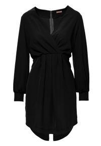 Makover - Elegancka kopertowa sukienka mini z bufiastymi rękawami. Typ kołnierza: dekolt kopertowy. Materiał: elastan. Typ sukienki: kopertowe. Styl: elegancki. Długość: mini