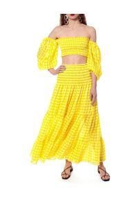 AGGI - Żółta spódnica w kratkę Lola. Kolor: żółty. Materiał: jedwab, tkanina, wiskoza. Wzór: kratka