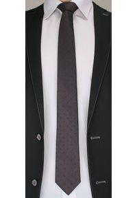 Krawat Męski w Drobny, Granatowy Wzór Paisley - Chattier, Ciemny Brązowy. Kolor: beżowy, brązowy, wielokolorowy. Materiał: tkanina. Wzór: paisley. Styl: wizytowy, elegancki