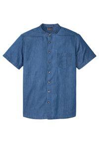 """Koszula dżinsowa z krótkim rękawem i stójką, Slim Fit bonprix niebieski """"stone"""". Typ kołnierza: kołnierzyk stójkowy. Kolor: niebieski. Długość rękawa: krótki rękaw. Długość: krótkie"""