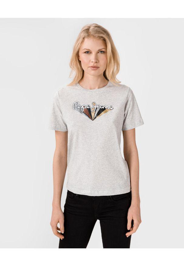 Szary t-shirt Pepe Jeans z haftami, z okrągłym kołnierzem
