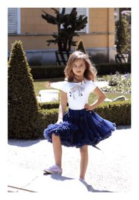 LaVashka Spódnica 25-B Granatowy Regular Fit. Kolor: niebieski