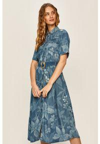 Desigual - Sukienka. Kolor: niebieski. Długość rękawa: krótki rękaw