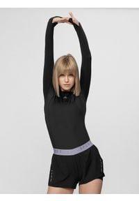4f - Longsleeve do biegania damski. Kolor: czarny. Materiał: skóra, włókno, dzianina. Długość rękawa: długi rękaw. Sport: fitness, bieganie
