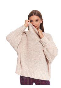 Biały sweter TOP SECRET na zimę, w kolorowe wzory, na co dzień, casualowy