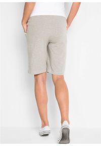 Szare spodnie bonprix moda ciążowa, krótkie, melanż