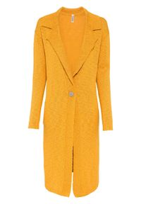 Długi sweter rozpinany bonprix miodowy. Kolor: pomarańczowy. Długość: długie