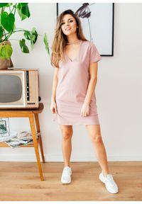 Różowa sukienka Fanaberia.com na spacer, na lato, mini, w kolorowe wzory