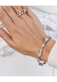 CAROLINE SVEDBOM - Bransoletka z białego złota Corinna. Materiał: złote. Kolor: srebrny. Wzór: aplikacja. Kamień szlachetny: kryształ