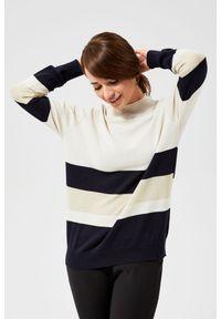 Sweter MOODO w paski, z długim rękawem
