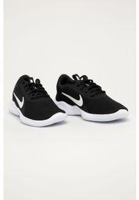 Czarne buty sportowe Nike z okrągłym noskiem, na obcasie, na sznurówki