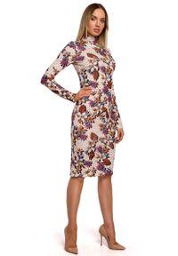 MOE - Wzorzysta Ołówkowa Sukienka z Półgolfem - Model 2. Materiał: poliester, elastan. Typ sukienki: ołówkowe