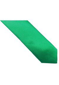 Modini - Zielony krawat męski w kratkę D179. Kolor: zielony. Materiał: tkanina, mikrofibra. Wzór: kratka