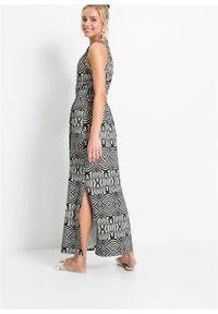 Długa sukienka wzorzysta bonprix szaro-czarny wzorzysty. Typ kołnierza: dekolt w serek. Kolor: szary. Wzór: nadruk. Sezon: lato. Długość: maxi